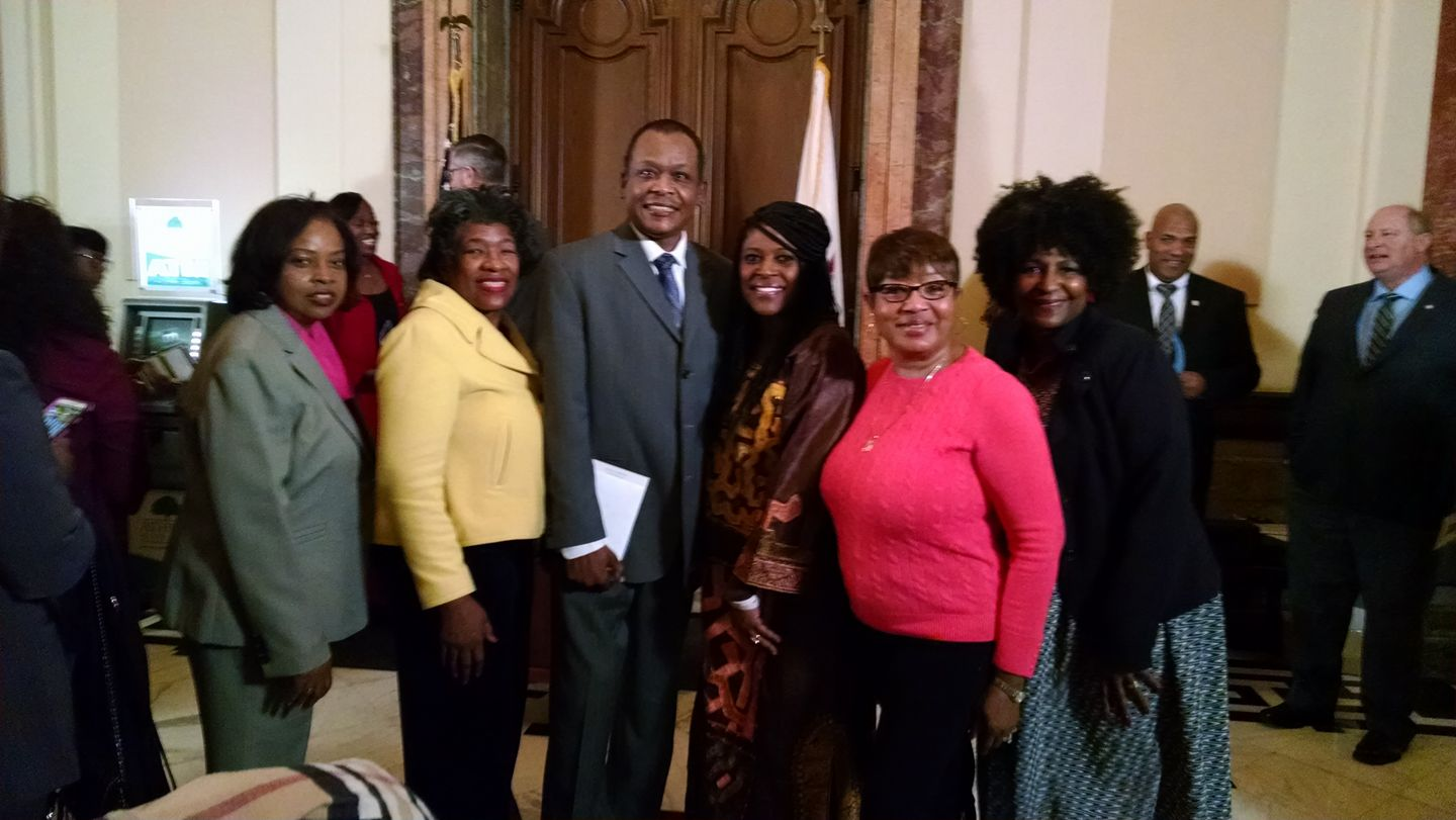 NAACP Champaign County Third Vice president Michele Cooper, NAACP Champaign County Second Vice President Dr. Sandra Kato, NAACP Assistant Treasurer Christopher Hamb, NAACP Illinois State President Teresa Haley, NAACP Champaign County First Vice President Minnie Pearson and NAACP Champaign County President Patricia Avery.